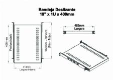 BANDEJA DESLIZANTE 19POL X 1U X 400MM PRETA